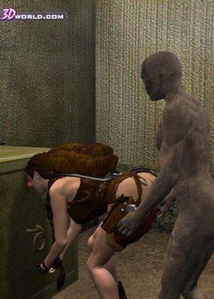 Лара Крофт проходит сквозь испытания и сражается с непонятным существом, которое ее еще и трахает