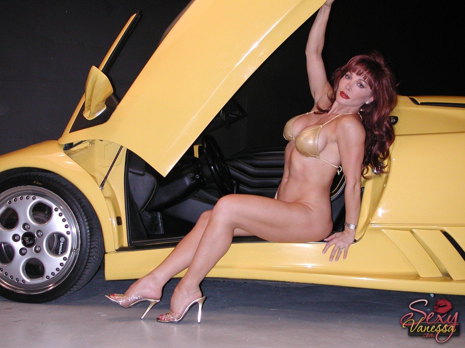 Naked Girl Driving A Lambo