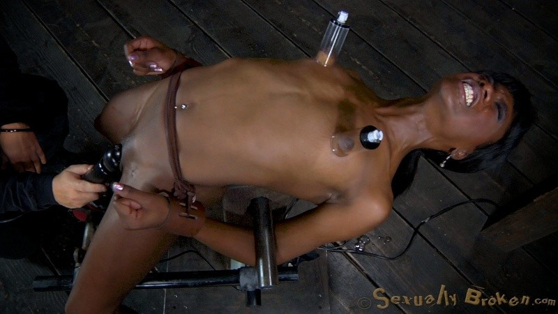 Tied up girl orgasm torture with vagina pomp, vibrator and glass anal plug