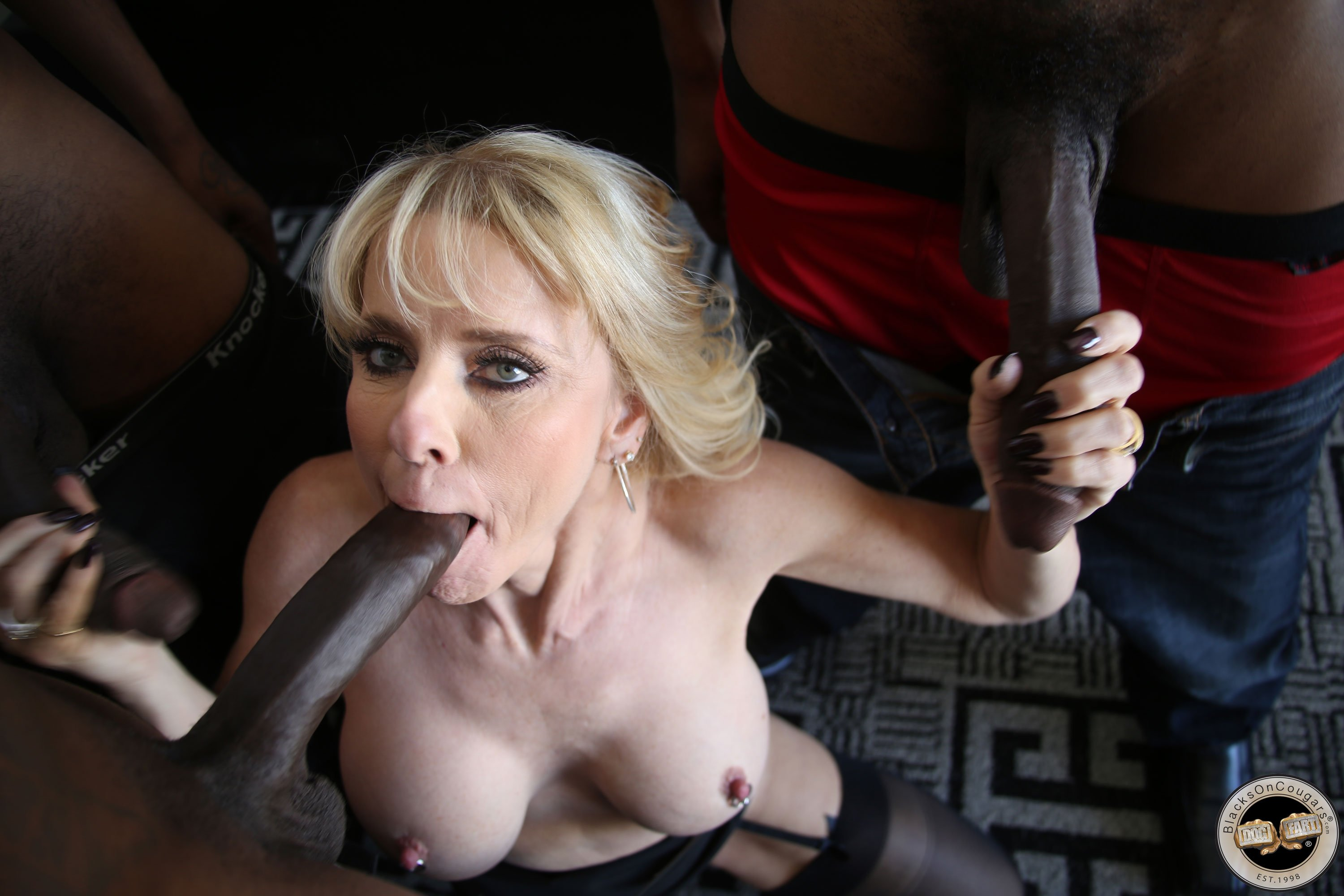 Blonde Milf Hottie Have Wild Threesome Sex With Black And White Fuckers