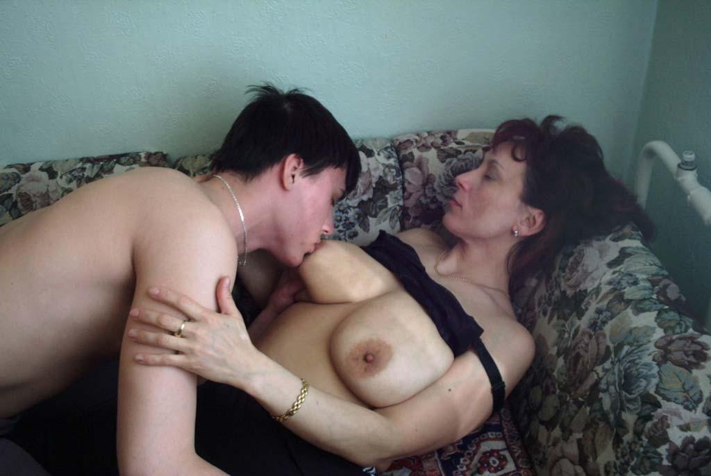 Sons sucking moms big nipples