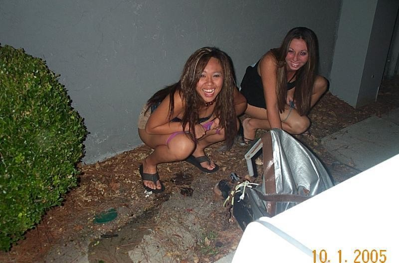 Drunk girls peeing toilet