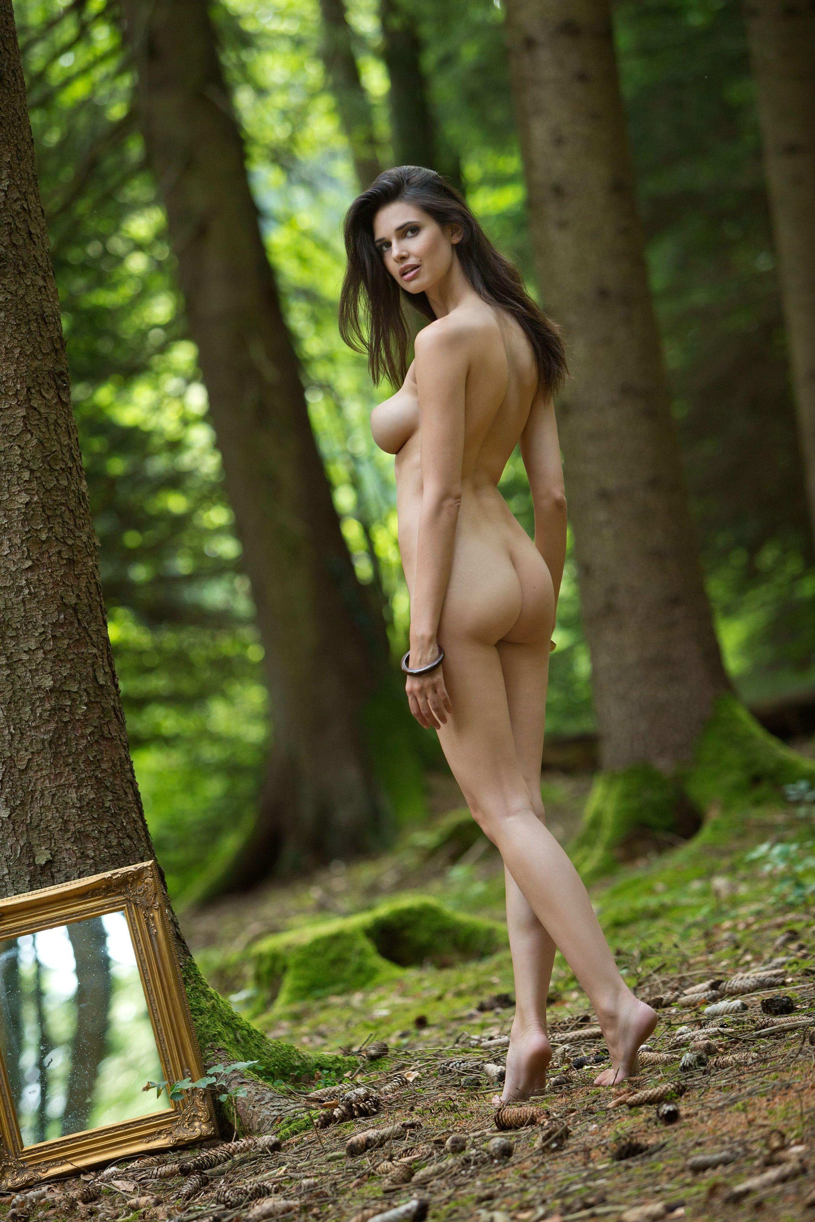 Naked forest bondage