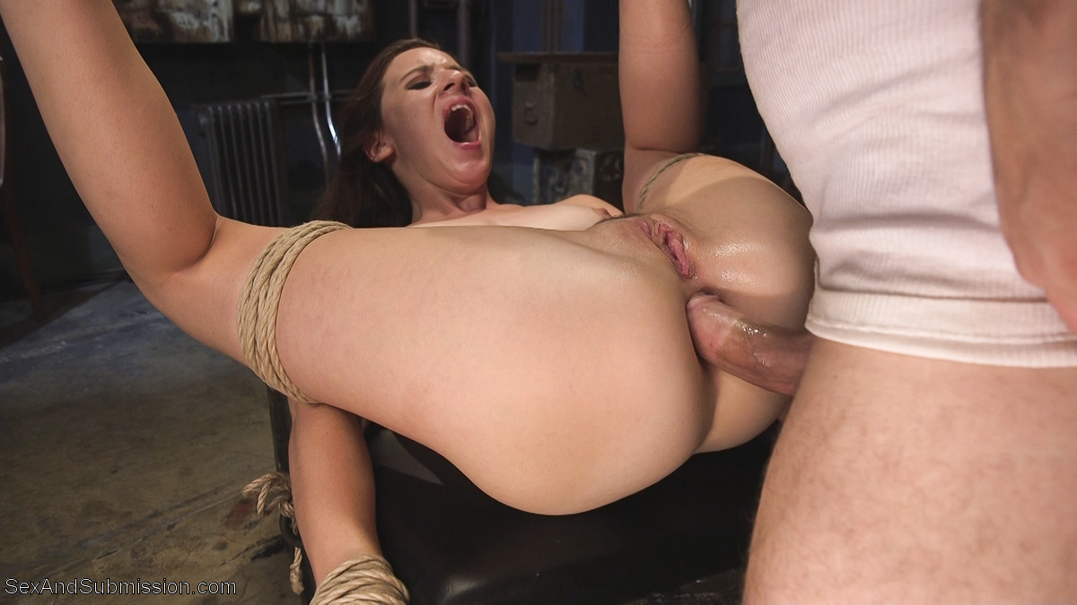 Bonded submissive facefucked by black maledom