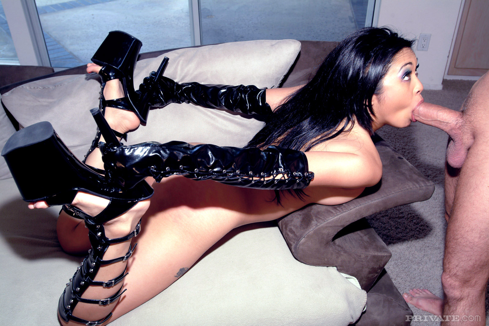 Fetish Babe Thigh High Boots Gloves
