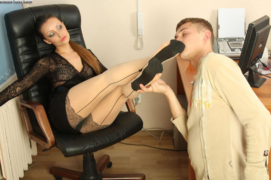 Slave forced bi by mistress in pantyhose
