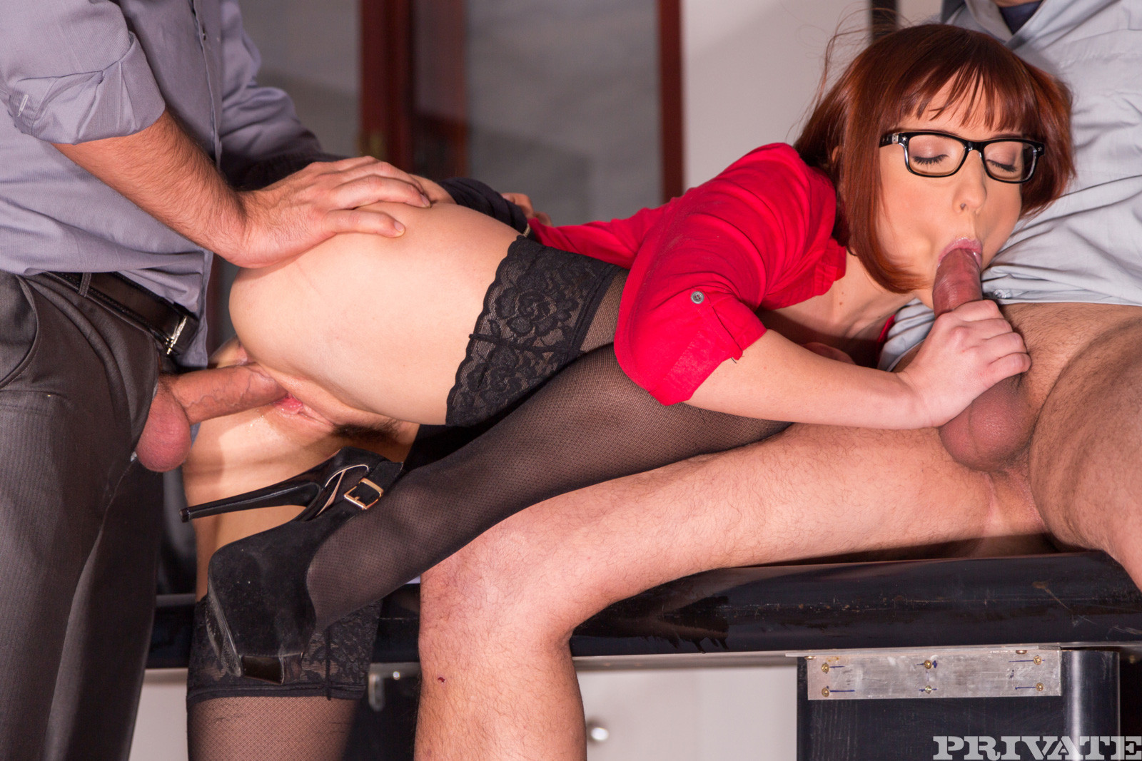Secretary stockings hard