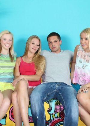 Три девки подрочили парню