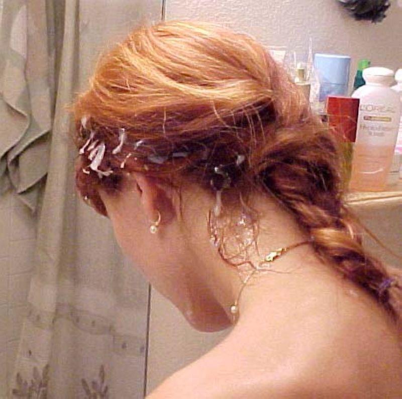 Кончают на волосы - подборка 004